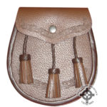 Brown Leather Sporran with Tassles