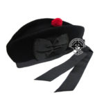 Glengarry Black With Red Pom Pom